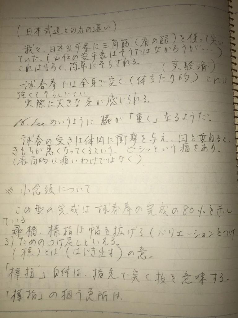 詠春拳の3つの型についても述べられている